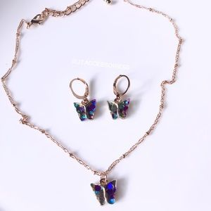 Multicolor butterfly necklace and earring set